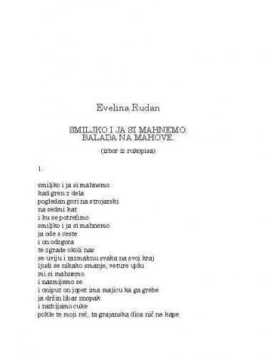 Smiljko i ja si mahnemo. Balada na mahove : (izbor iz rukopisa) / Evelina Rudan