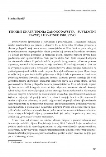 Tehnike unapređenja zakonodavstva - suvremeni razvoj i hrvatsko iskustvo : [strukturne zadaće] / Slavica Banić