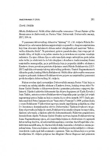 Nikola Božidarević. Veliki slikar dubrovačke renesanse / Great Painter of the Renaissance in Dubrovnik ur. Pavica Vilać. Dubrovnik: Dubrovački muzeji, 2017. : [prikaz] / Tanja Trška