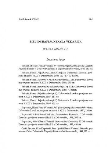 Bibliografija Nenada Vekarića / Ivana Lazarević
