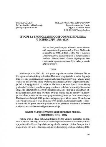 Izvori za proučavanje gospodarskih prilika u Međimurju (1918.–1929.) / Jasna Požgan