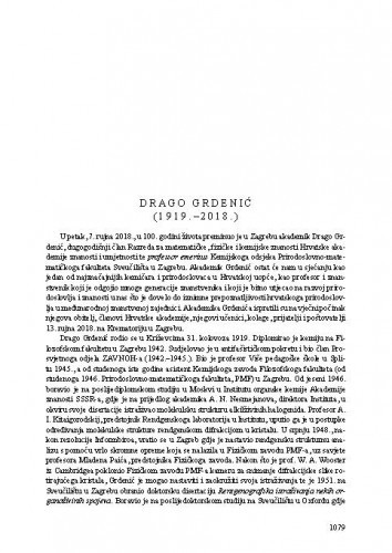 Drago Grdenić (1919.-2018.) : [nekrolog] / Stanko Popović