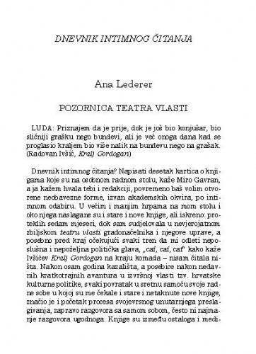 Pozornica teatra vlasti : Dnevnik intimnog čitanja / Ana Lederer