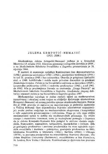 Jelena Krmpotić-Nemanić (1921.-2008.) : [nekrolog] / Miloš Judaš, Ivica Kostović, Marko Pećina