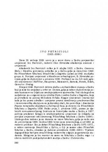 Ivo Petricioli (1925.-2009.) : [nekrolog] / Radoslav Tomić