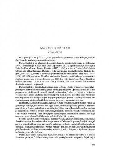 Marko Ruždjak (1946.-2012.) : [nekrolog] / Nikša Gligo