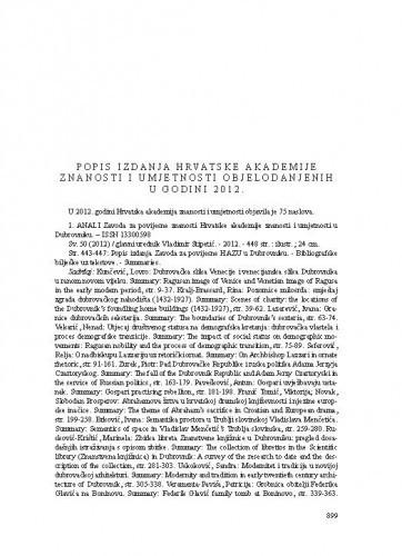 Popis izdanja Hrvatske akademije znanosti i umjetnosti objelodanjenih u godini 2012.