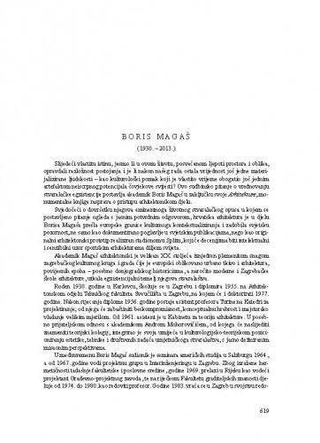 Boris Magaš (1930-2013.) : [nekrolog] / Velimir Neidhardt