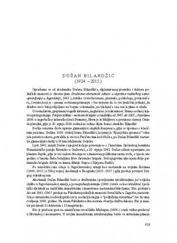 Dušan Bilandžić (1924.-2015.) : [nekrolog] / Franjo Šanjek