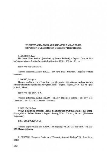 Popis izdanja Zaklade Hrvatske akademije znanosti i umjetnosti objelodanjenih u godini 2010.