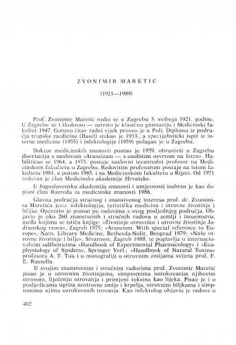 Zvonimir Maretić (1921-1989) : [nekrolozi] / Dragan Dekaris