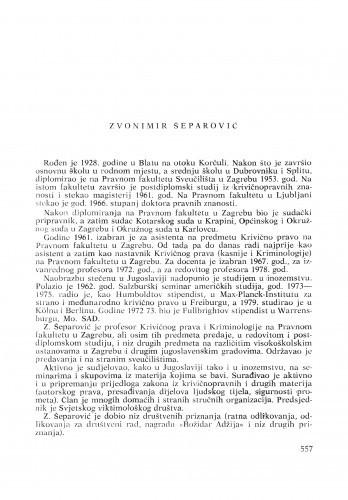 Zvonimir Šeparović : [biografije novih članova Akademije]