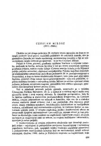 Czeslav Milosz (1911.-2004.) : [nekrolog] / Nikica Petrak