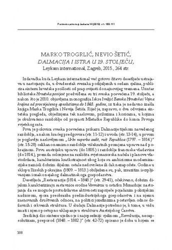 Marko Trogrlić, Nevio Šetić, Dalmacija i Istra u 19. stoljeću, Leykam international, Zagreb, 2015 : [prikaz] / Mihovil Dabo