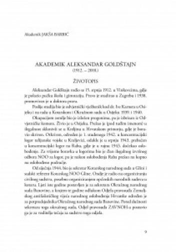 Akademik Aleksandar Goldštajn (1912.-2010.) : [životopis] / Jakša Barbić