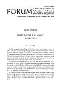 Izgubljeni raj (1667.) : knjiga treća / John Milton ; [preveo Mate Maras]