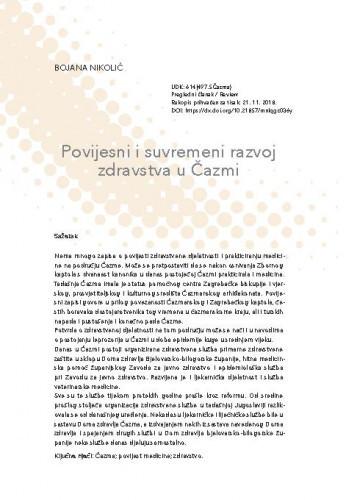Povijesni i suvremeni razvoj zdravstva u Čazmi / Bojana Nikolić
