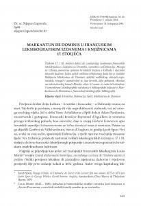 Markantun de Dominis u francuskim leksikografskim izdanjima i knjižnicama 17. stoljeća / Stjepan Lapenda