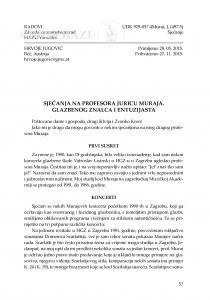 Sjećanja na profesora Juricu Muraja. Glazbenog znalca i entuzijasta / Hrvoje Jugović