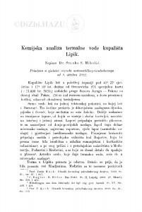 Kemijska analiza termalne vode kupališta Lipik / S. Miholić