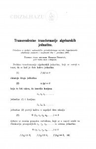 Trancendentne transformacije algebarskih jednačina / M. Petrović