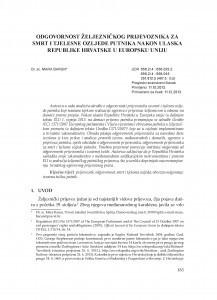 Odgovornost željezničkog prijevoznika za smrt i tjelesne ozljede putnika nakon ulaska Republike Hrvatske u Europsku uniju / Mara Barun