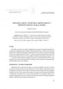 Molekularna genetika obiteljskog i hereditarnog raka dojke / Sonja Levanat
