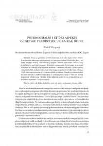 Psihosocijalni i etički aspekti genetske predispozicije za rak dojke / Rudolf Gregurek