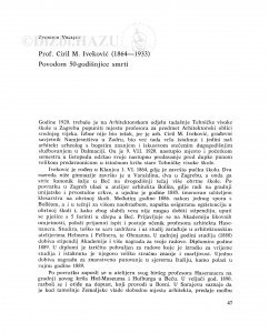 Prof. Ćiril M. Iveković (1864-1933) : povodom 50-godišnjice smrti / Zvonimir Vrkljan