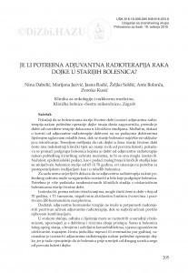 Je li potrebna adjuvantna radioterapija raka dojke u starijih bolesnica? / Nina Dabelić, Marijana Jazvić, Jasna Radić, Željko Soldić, Ante Bolanča, Zvonko Kusić