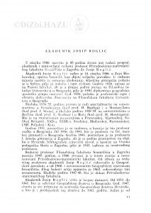 Akademik Josip Roglić / M. Malez, T. Šegota