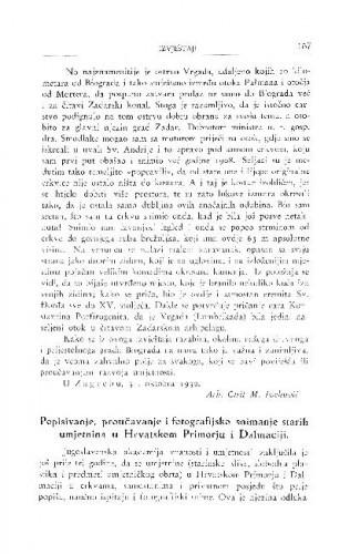Popisivanje, proučavanje i fotografijsko snimanje starih umjetnina u Hrvatskom Primorju i Dalmaciji / A. Schneider