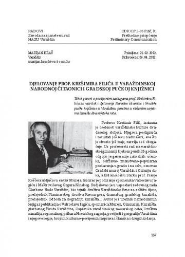 Djelovanje prof. Krešimira Filića u varaždinskoj Narodnoj čitaonici i Gradskoj pučkoj knjižnici / Marijan Kraš