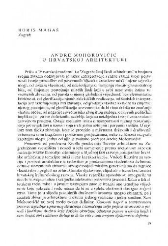 Andre Mohorovičić u hrvatskoj arhitekturi / Boris Magaš