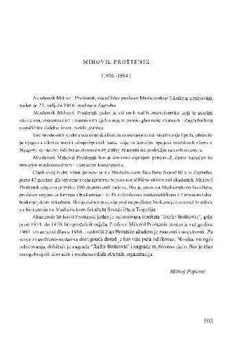 Mihovil Proštenik : (1916.-1994.) / Milivoj Popović