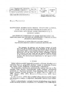 Kopnene kornjače roda Testudo Linné, 1758. iz pleistocenskih naslaga Crvene stijene kod Petrovića u Crnoj Gori / M. Paunović