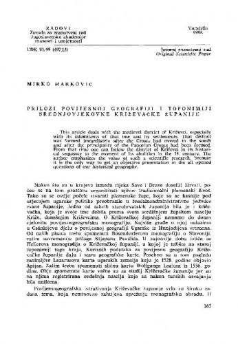Prilozi povijesnoj geografiji i toponimiji srednjovjekovne Križevačke županije / Mirko Marković