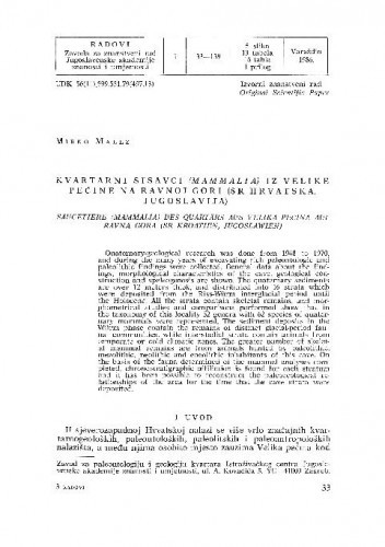 Kvartarni sisavci (Mammalia) iz Velike pećine na Ravnoj gori (SR Hrvatska, Jugoslavija) / Mirko Malez