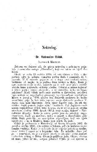 Dr. Vatroslav Oblak : nekrolog / I. Milčetić