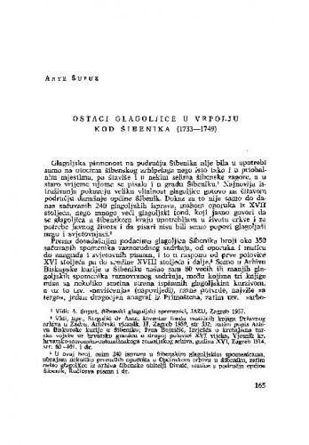 Ostaci glagoljice u Vrpolju kod Šibenika (1733-1749) / Ante Šupuk