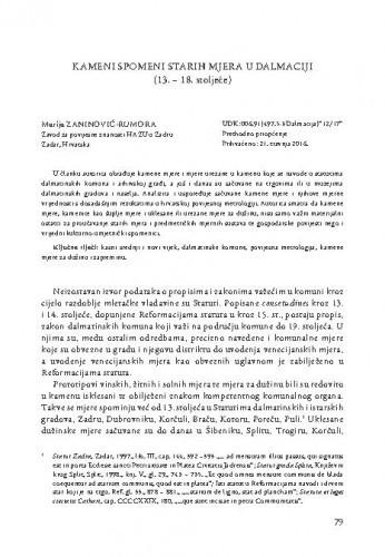 Kameni spomeni starih mjera u Dalmaciji (13.-18. stoljeće) / Marija Zaninović-Rumora