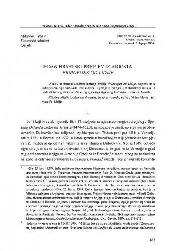Jedan hrvatski prepjev iz Ariosta: Pripovijes od Lidije / Milovan Tatarin