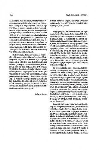 Gordan Ravančić, Vrijeme umiranja: Crna smrt u Dubrovniku 1348-1349. Zagreb: Hrvatski institut za povijest, 2010. : [prikaz] / Božena Glavan
