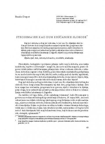 Strossmayer kao duh kršćanske slobode / Branko Despot