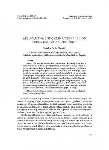 Adjuvantna endokrina terapija kod predmenopauzalnih žena / Natalija Dedić Plavetić