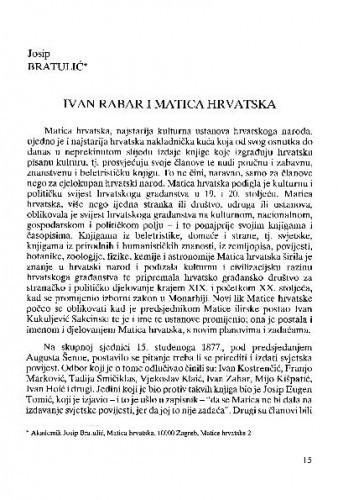 Ivan Rabar i Matica hrvatska