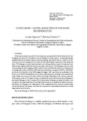 OSTEOGROW – novel bone device for bone regeneration