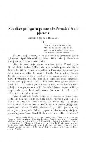Nekoliko priloga za poznavańe Preradovićevih pjesama / S. Banović