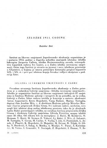 Izložbe 1954. godine / B. Bek