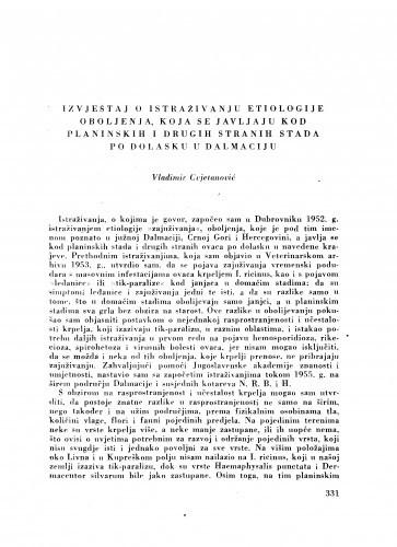 Izvještaj o istraživanju etiologije oboljenja koja se javljaju kod planinskih i drugih stranih stada po dolasku u Dalmaciju / V. Cvjetanović